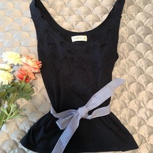 A&F Navy Belted Appliqué Tank